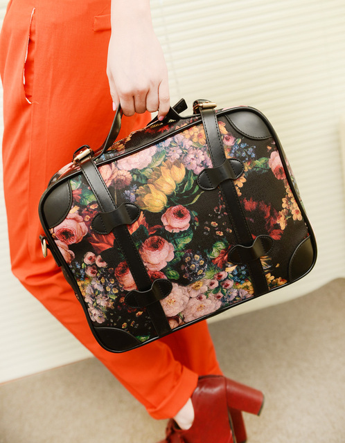 Free shipping Fashion vintage 2013 computer women's handbag, one shoulder cross-body oil painting flower big bags