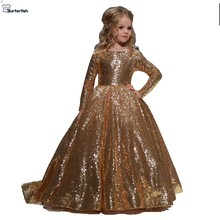 Gold Little Girls Dresseballชุดสำหรับเด็กชุดวันเกิดสำหรับสาวแฟนซีดอกไม้สีทองBlingSequinความยาวเต็มชุด