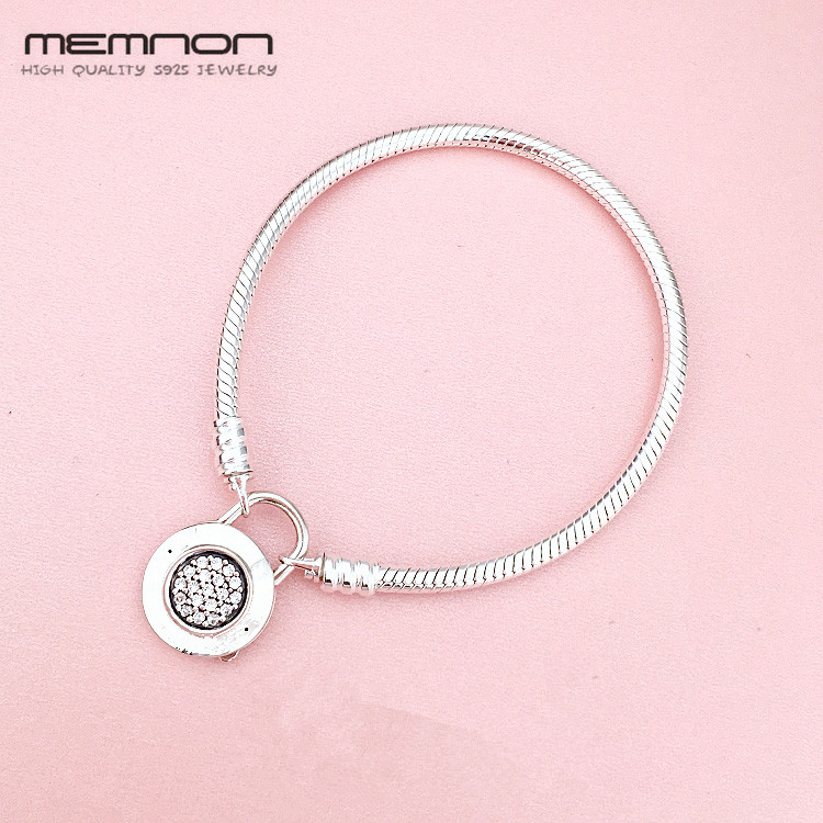 цена Memnon Trendy snake Chain bracelets fit 925 sterling silver jewelry beads charms DIY for Women silver bangle Special Offer YL075