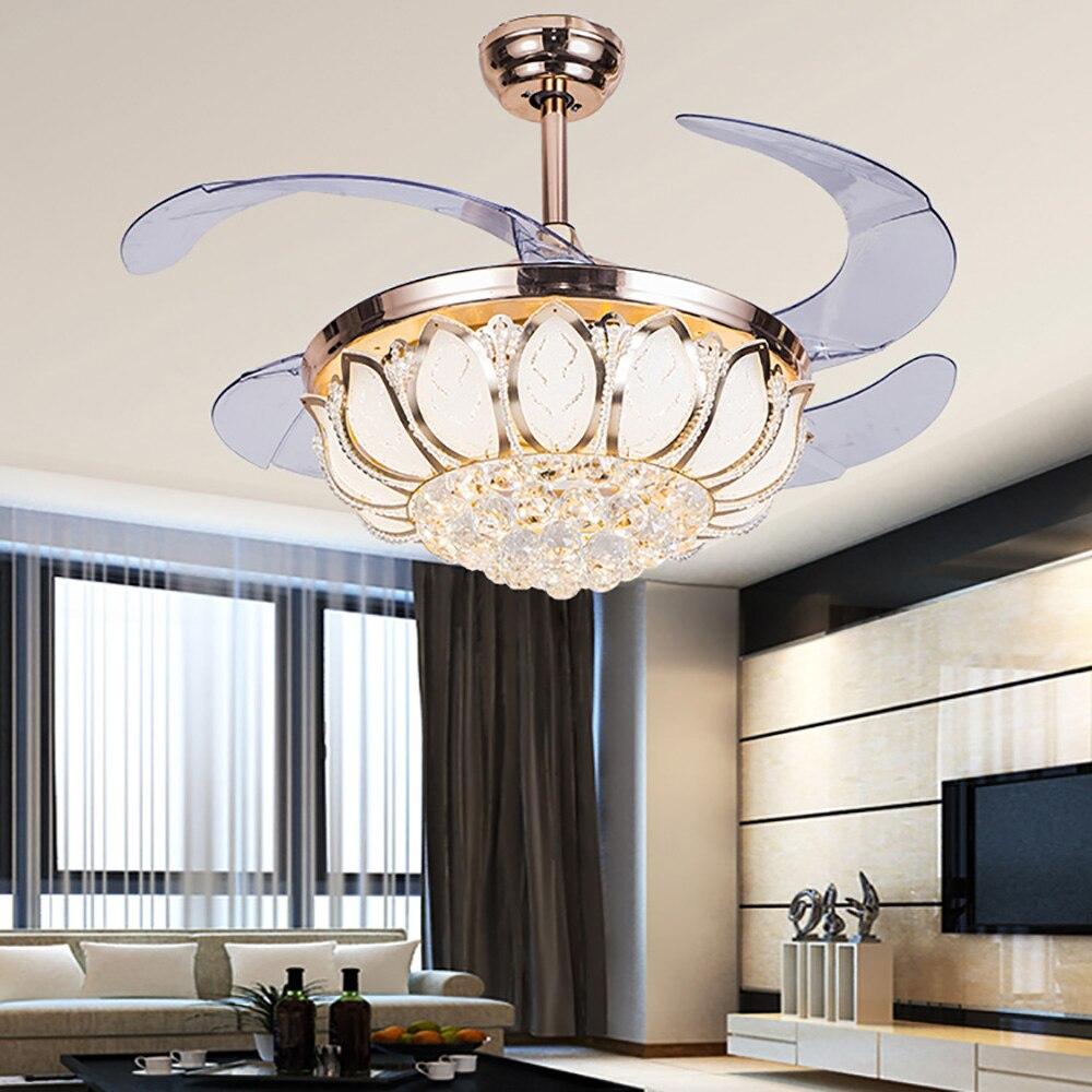 Modern Retractable crystal <font><b>ceiling</b></font> fans with lights foldable chandelier crystal chandelier fan lamp style fan light