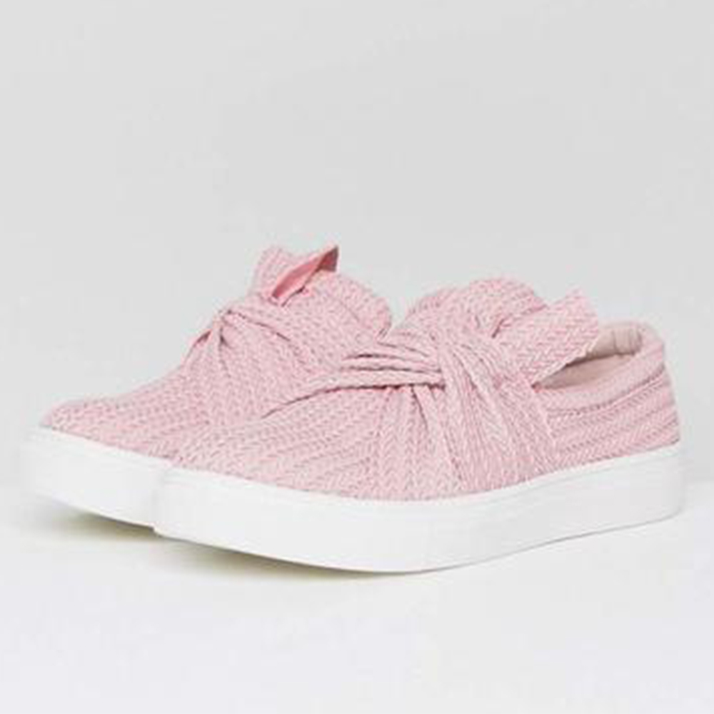 Women Casual Bowknot Breathable Mesh Loafers Ladies Thick Bottom Flats Soft Knitted Slip on Vulcanized Shoes(China)