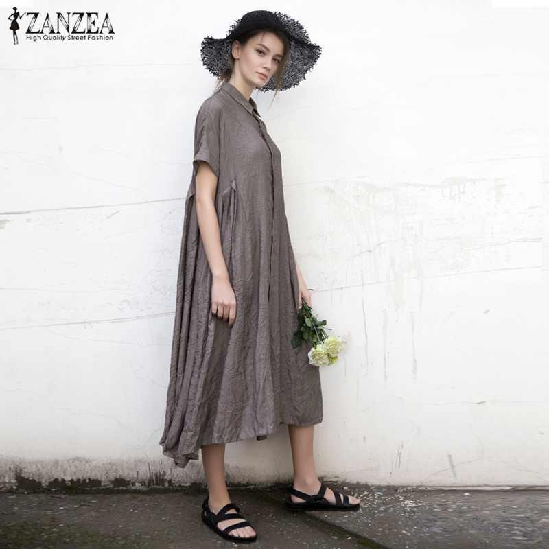 b7f7c97982a8 Women Cotton Linen Short Sleeve Casual Loose Lapel Long Maxi Dress ZANZEA  2018 Summer Beach Robe