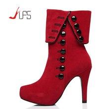 Damen Stiefeletten Fersen 2016 Rot Hochhackige Schuhe Frau Plattform Wildleder Winterstiefel Weiblichen Botas Zapatos Mujer