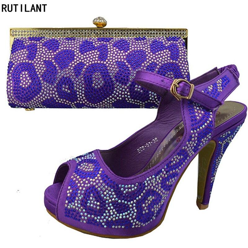 Púrpura África Purple Imitación Zapatos Boda Con Bolso Nueva Nigeriano Y Diamantes Color Llegada De Decorado Las Partes Mujeres EfTwpqPT