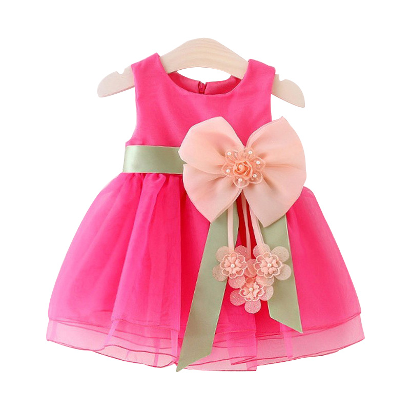 2016 Summer Baby Girls Dresses Princess Bow Weddings Dress Kids Birthday Party Costume Childrens Clothing For 0-3Y