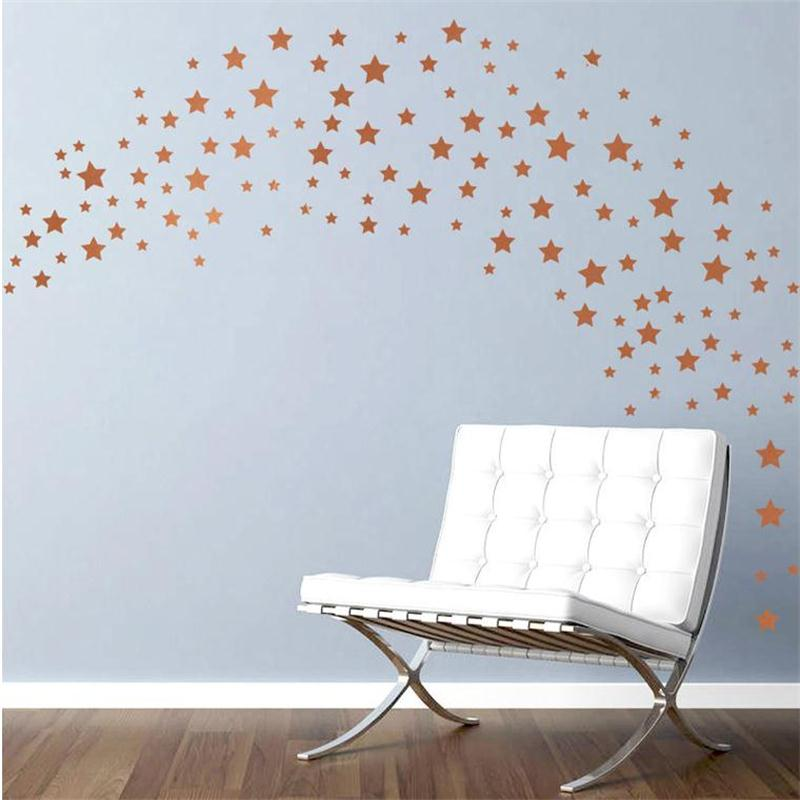 65pcs/set Bronze Gold Stars Wall Stickers For Kids Rooms Home Decor ...