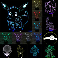 New Christmas Gifts Pokemons Anime Cartoon 3D Visual LED Nightlight Touch Table Illusion Mood Dimming Lamp