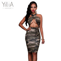 Yilia Sexy Two Piece Set Women Summer 2018 Army Green Camouflage Print Halter Cross Back Casual
