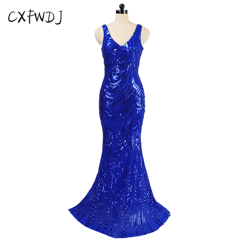 2018 The New Womens clothing Banquet Dress Fishtail Long Section Sequins V-neck backless get Together Host Dress Noble Elegant