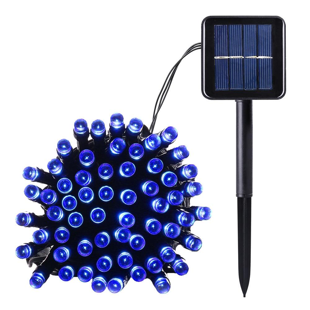 Blue Color Solar Powered Christmas String Lights 100 LED 39ft 8 Modes Fairy Lighting For Outdoor Patio Outside Garden Solar Lamp