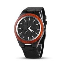 aa26c7e55b5 Madeira única Pulseira de Couro Relógio de Pulso de Madeira Relógios de  Moda Popular Relógio dos