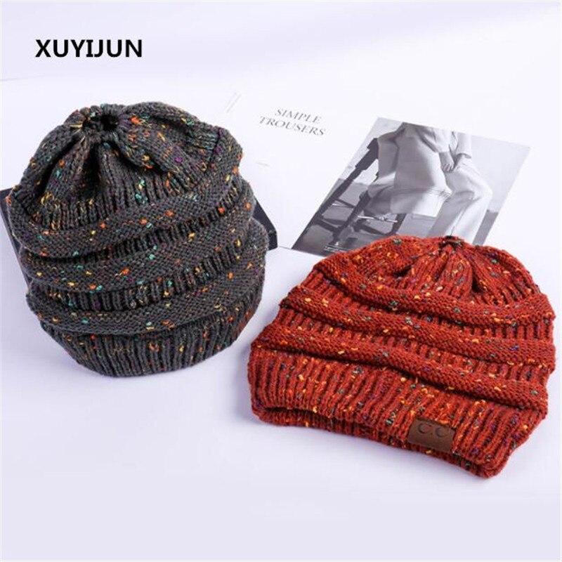 Xuyijun CC   Beanie   Winter Hats For Women Crochet Knit Cap   Skullies     Beanies   Warm Caps Female Knitted Stylish Hat Ladies Fashion