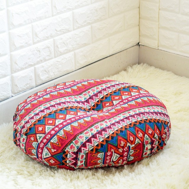 Bohemian Big Size Thicken 70cm Round Shaped Tatami Seat Mat, , Sofa Cushion,  Floral