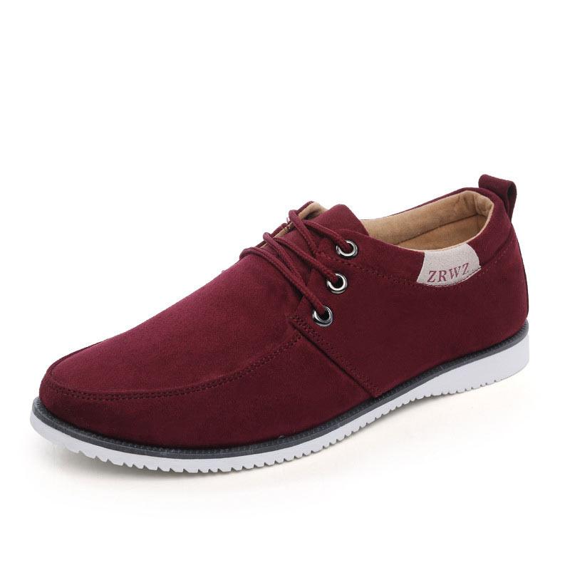 Moda Planos Sólido azul Calzado Zapatos Para Cuero Nuevos rojo De Negro 2016 Hombre Masculino Gamuza 41xqnxwOP0
