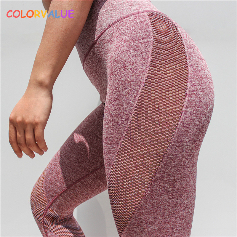 Colorvalue Seamless Mesh Running Sport Tights Women Mention Hip Gym Yoga Capri Pants Tummy Control Fitness Athletic Leggings colorvalue solid sport fitness leggings women high stretchy yoga pants nylon mesh gym athletic leggings with triangle crotch