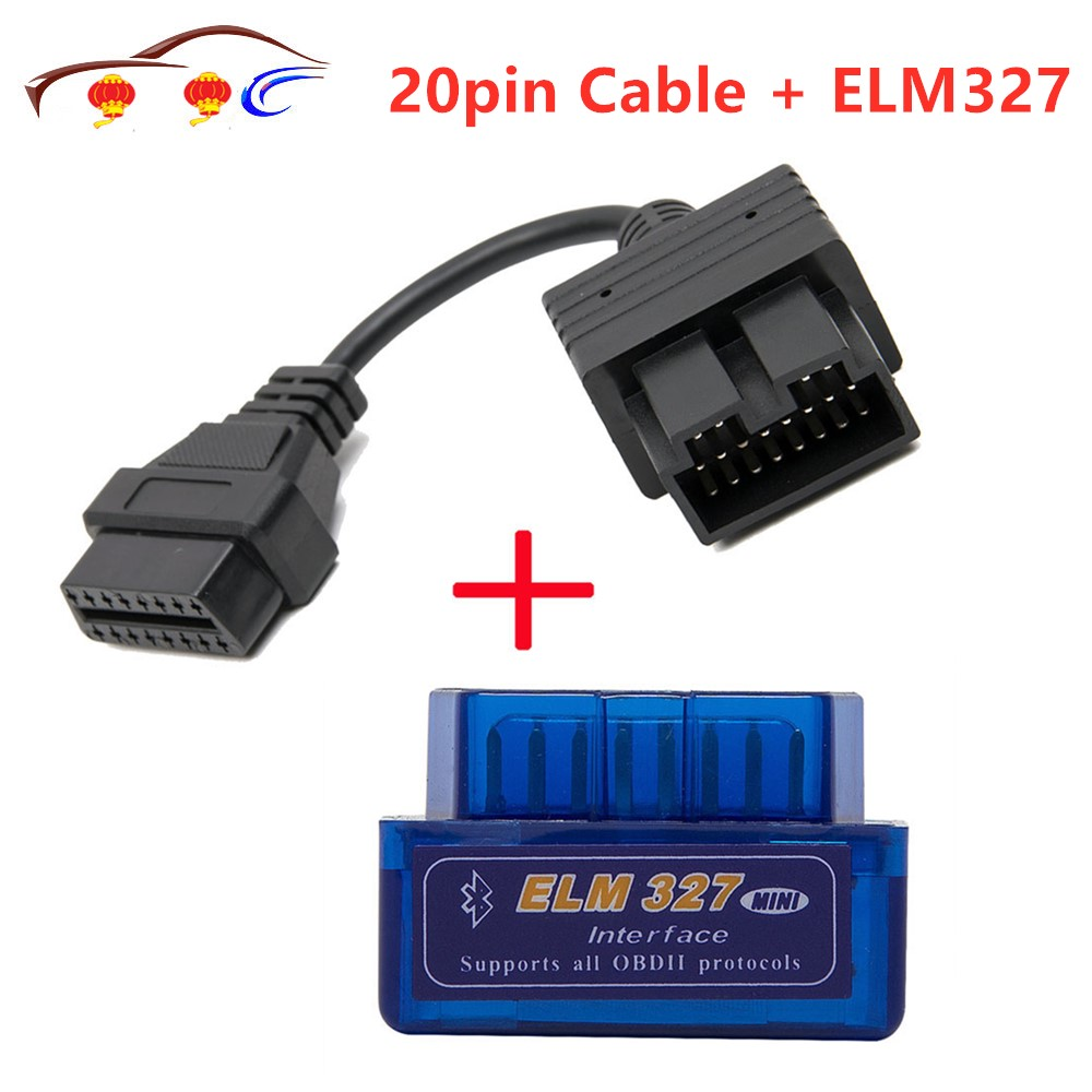 Super Mini ELM327 Bluetooth + OBD2 Connector Cable For Kia 20 Pin Car Scanner Diagnostic Tool ELM 327 For Android Torque Windows