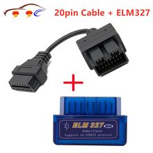 Super mini elm327 bluetooth + obd2 conector cabo para kia 20 pinos carro scanner ferramenta de diagnóstico elm 327 para android torque windows
