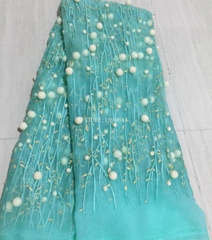 New Design African Women Kant Stof Embroidered Tulle Fabric aqua color Nigerian French Tulle Lace Fabric 5Yards ML5991