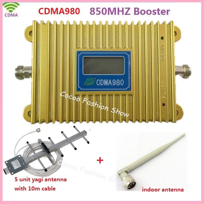 Amplificateur de Signal de téléphone portable CDMA 980 LCD CDMA GSM 850 Mhz, amplificateur de répéteur de Signal CDMA de téléphone portable celulaire + antenne Yagi