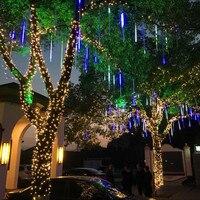 Yiyang ac100-240v LED multicolor 30 cm Meteor Navidad luces Fiesta de la boda jardín Xmas Cadena de luz al aire libre