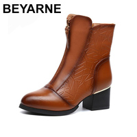 BEYARNE Female Autumn Spring Winter Big Size Genuine Leather Ankle Boots For Women Fashion Med Heels Soft Plush Warm Boots Ladi