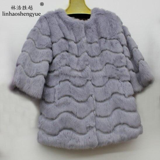Linhaoshengyue 2015 la peau de lapin à manches longues col montant manteau de fourrure