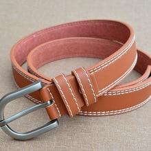 YJSFG HOUSE Women Fashion Belts Lady Vintage Metal Boho PU Leather Pin Buckle Waist Belt Thread Waistband Solid Sturdy