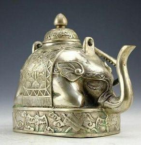 КИТАЙСКИЙ РЕДКИЙ Мяо серебряная резьба животное слон богатства Форма чайный горшок кунг-фу чайный сервиз чайник горшок для воды