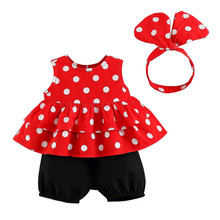 3pcs Set Baby Girl Clothes Lace Sleeveless Point Cupcake Top + Pant +headband 3 Piece Outfits Toddler Suit