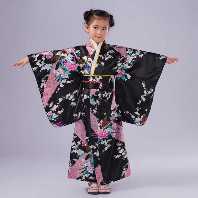 اليابانية طفلة كيمونو فستان مع Obi التقليدية يوكاتا الطفل مرحلة الأداء فستان رقص طفل تأثيري حلي