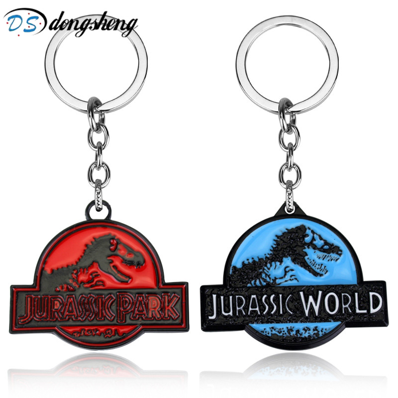 Hot Movie Jurassic Park Dinosaur Key Chain Jurassic World Metal Pendent Key Rings Gift For Man Woman Keychain -50