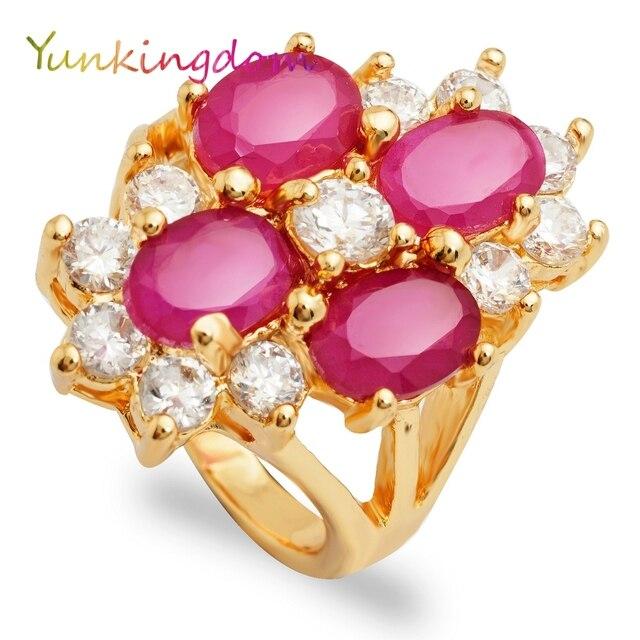 mignon pas cher réduction jusqu'à 60% meilleur prix Yunkingdom four oval shape rings for women gold color anel ...