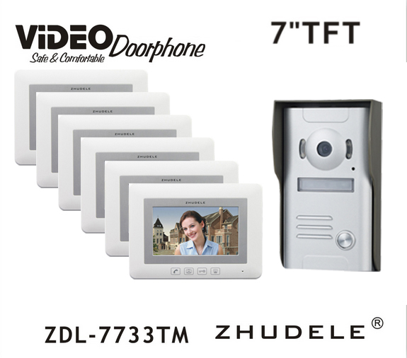 ZHUDELE New Arriva Doorbell Intercom System 7 Video Door Phone Touch button Kits Night Vision 700TVL HD Home House Security 1V6