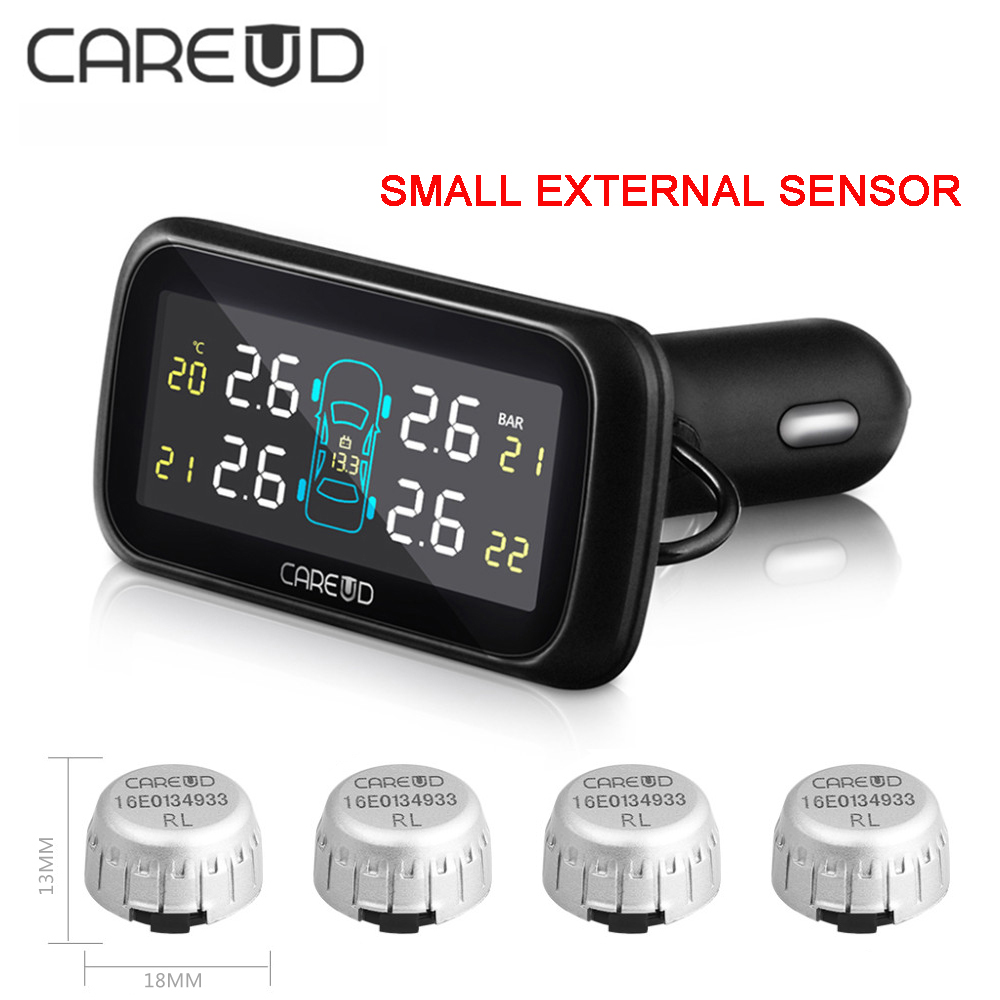 CAREUD Digital Tire Pressure Monitoring System 12V Real Time Professional Wireless Smart TPMS Alarm With Small External Sensors careud u903 wf tpms wireless tire pressure monitor with 4 external sensors