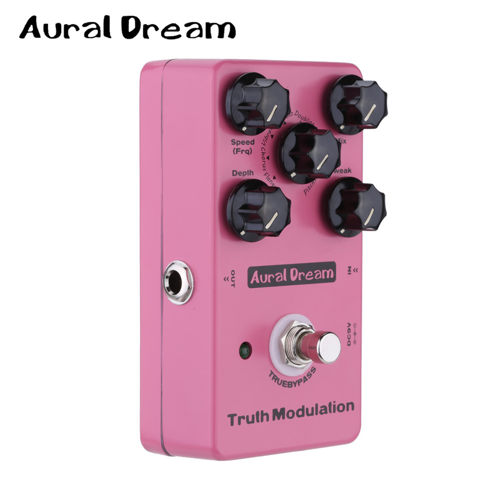 Aural Dream Truth Modulation Guitar Effect Digital Pedal with Five knobs and True Bypass Flanger/ Chorus/ Vibrato/ Tremolo ect mooer ensemble queen bass chorus effect pedal mini guitar effects true bypass with free connector and footswitch topper