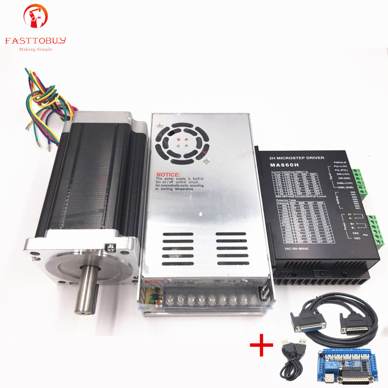 New 1 Axis Nema 34 Stepper Motor Dual Shaft 928oz-in CNC Stepper Kit ,Power Supply+Stepper Motor+Drive+5 axis CNC breakout board spot supply new 57d 6 line stepper motor