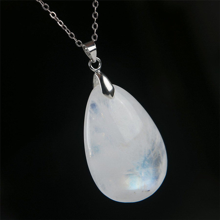 Genuine Natural Blue Light Moonstone Water Drop Stone Bea Crystal Women Pendant 35x23x9mm genuine natural moonstone blue light gem stone donut shape women necklace charm pendant aaaa