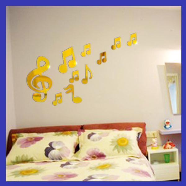 New 10 pcs/lot Silver Music Mirror Wall Stickers Home Decor ...