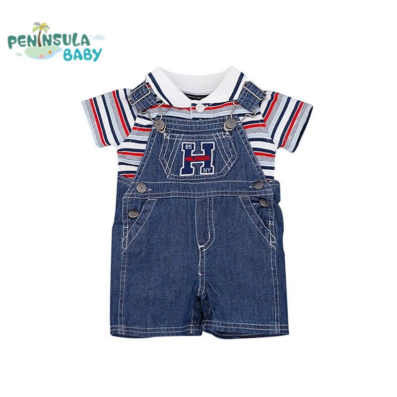 Summer Baby Boys Clothes Polo Striped t-shirt +Denim Jumpsuit clothes set Newborn Toddler Kids 2pcs/lot clothing suit