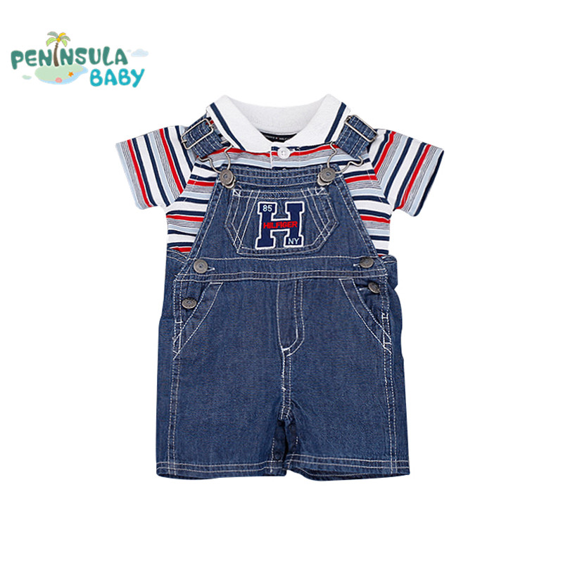 Summer Baby Boys Clothes Polo Striped t-shirt +Denim Jumpsuit clothes set Newborn Toddler Kids 2pcs/lot clothing suit sun moon kids boys t shirt summer