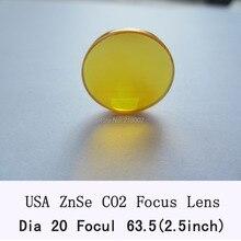 США CVD ZnSe фокус объектива 20 мм диаметр 63,5 мм фокусное расстояние для СО2 лазер СО2 лазерная гравировка машина СО2 лазерная резка машина