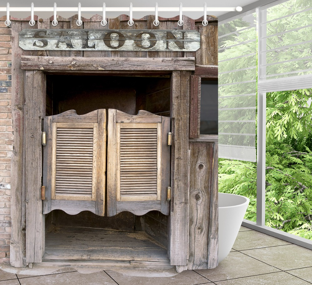 LB Rustic Old Wooden Barn Door Western Shower Curtain Set Swinging Saloon Doors Bathroom