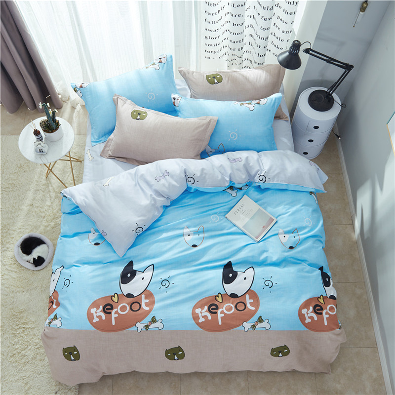 100% cotton Cartoon style Dog Pattern Boy Girl Adult Child Bedclothes 4pcs blue Bedding Sets Bed Sheet Duvet Cover Pillowcases100% cotton Cartoon style Dog Pattern Boy Girl Adult Child Bedclothes 4pcs blue Bedding Sets Bed Sheet Duvet Cover Pillowcases