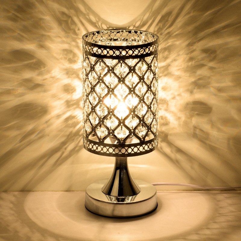 FREE SHIPPING Simple LED modern crystal decoration table lamp personality style bed bedr ...
