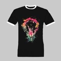 הנורה החולצה אופנה קיץ חולצת כושר של גברים עיצוב קצר גודל גדול חולצות camiseta איכות גבוהה מותאם אישית מצחיק t שרוול