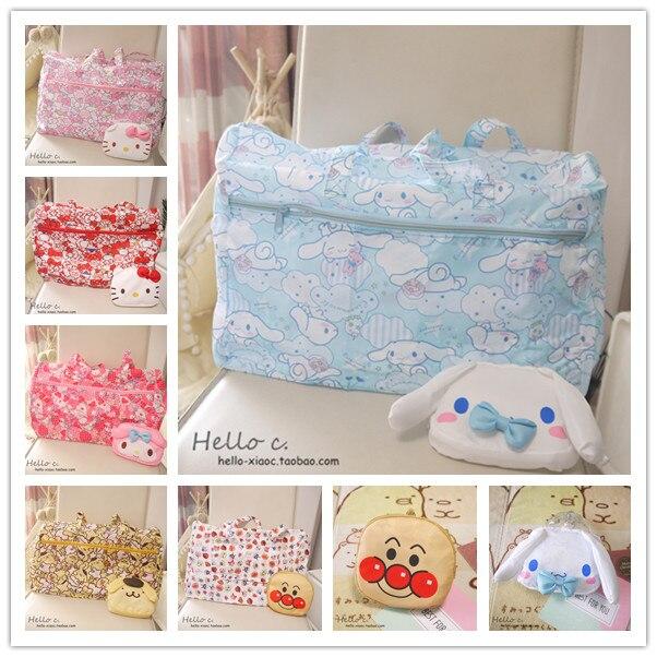 Cartoon Women Hello Kitty My Melody Cinnamoroll Dog Pudding Dog Anpanman Portable Foldable Luggage Bag Travel Bags Trolley bag