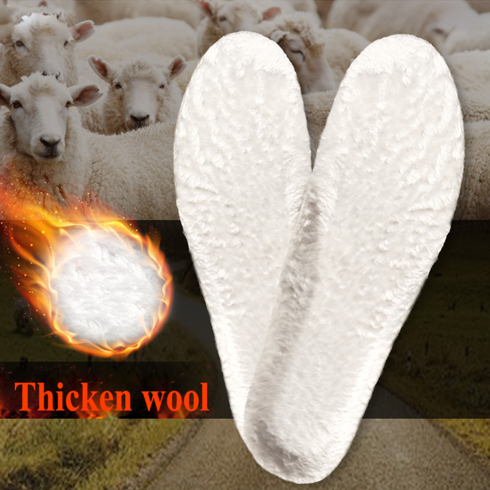 EID Warm Artificial Wool Insoles Cashmere Thermal Shearling Snow Boots Shoe Pad Fur Wool Adult Winter Women Shoes Insert Unisex