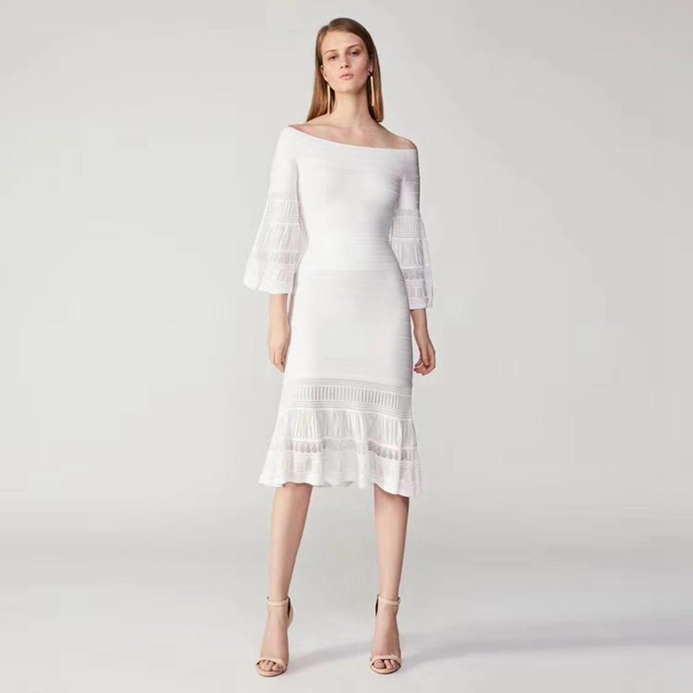 2018 새로운 여성 가을 흰색 슬래시 목 두 2 조각 솔리드 손목 플레어 슬리브 붕대 드레스 우아한 vestidos 연예인 파티-에서드레스부터 여성 의류 의  그룹 1