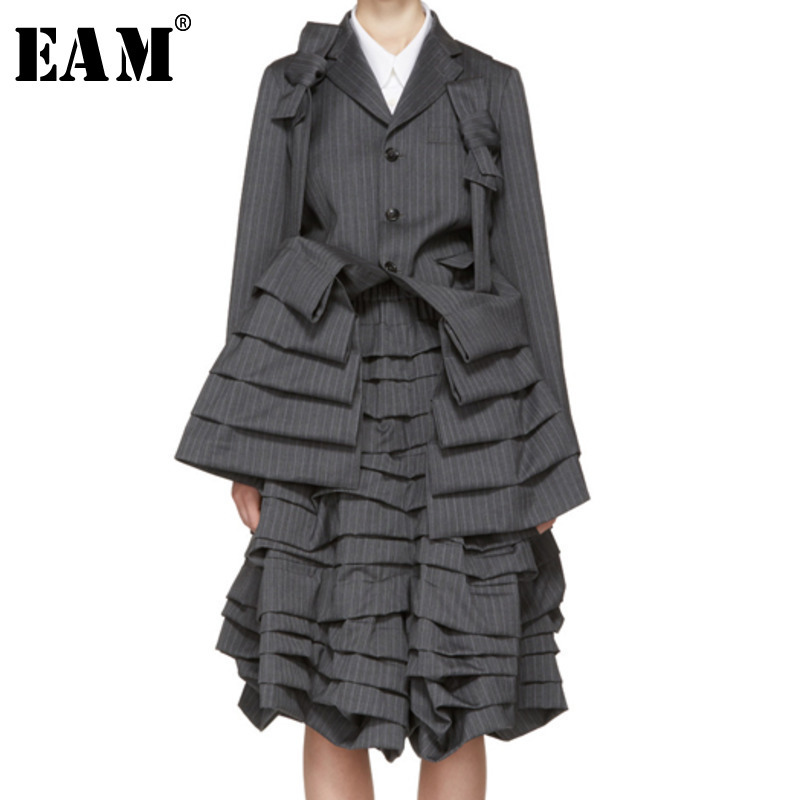 EAM 2019 Spring Woman Long Sleeve Single Breasted Spliced Bow Zipper Coat Ruffle Elastic Wasit