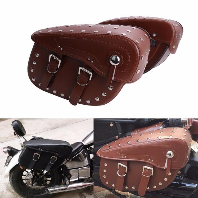 Cuoio Borse Rivet Pelle 1 Sella di Moto Marrone Studded In Paia HPqTxwTCg